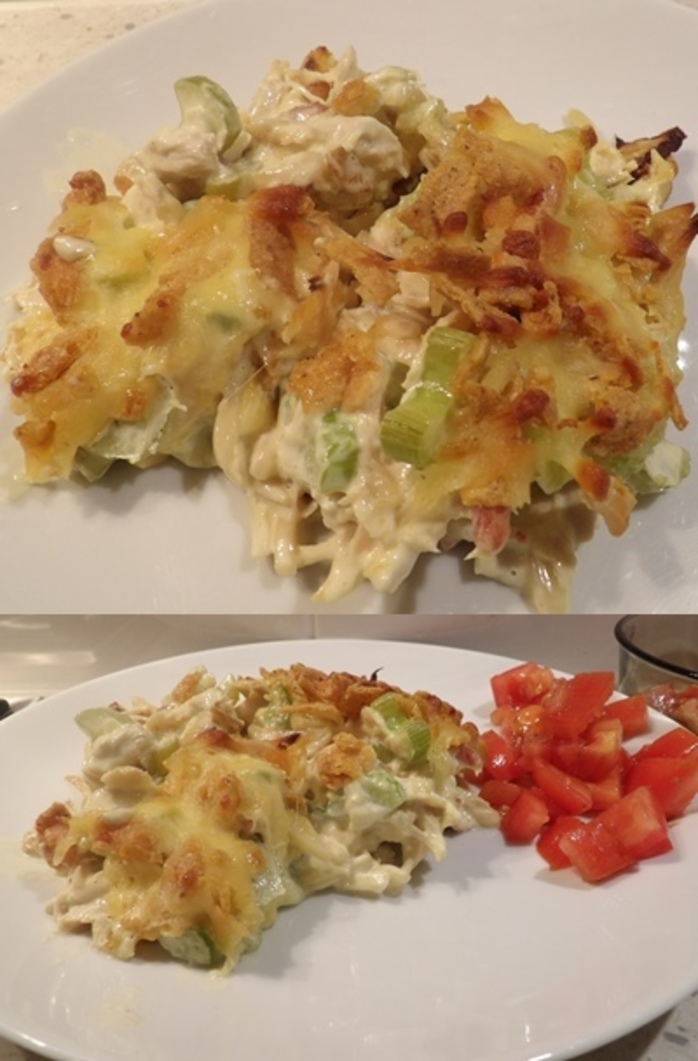 plated,chicken,bacon,celery,chips,cheese,bake