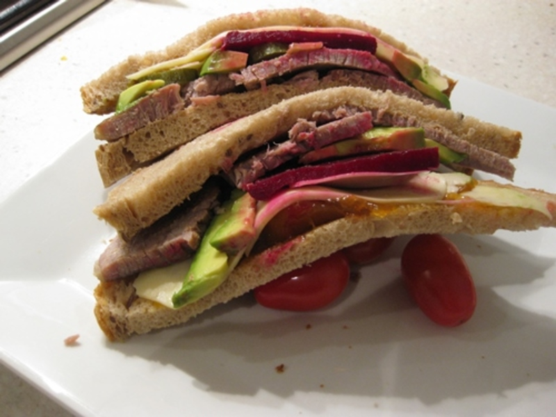 plated,corned,beef,sandwich,yummy  - Home Made Corned Silverside with Mixed Puree, plus Sandwich