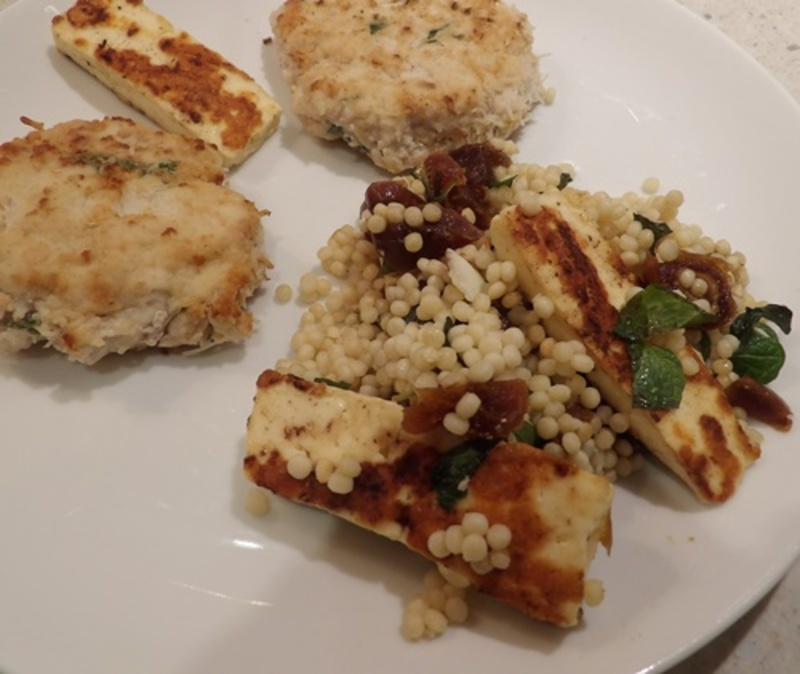 chopping,mint,and,dried,dates  - Couscous and Almonds with Haloumi