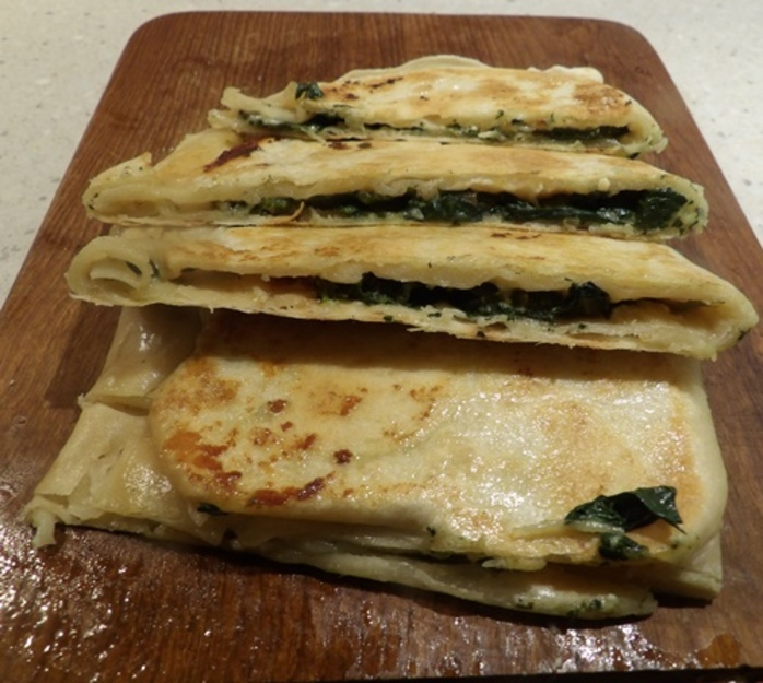 plated,gozleme,with,feta,and,spinach