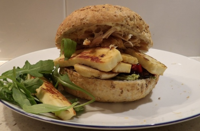 plated,haloumi,turkey,avocado,mushroom,burger