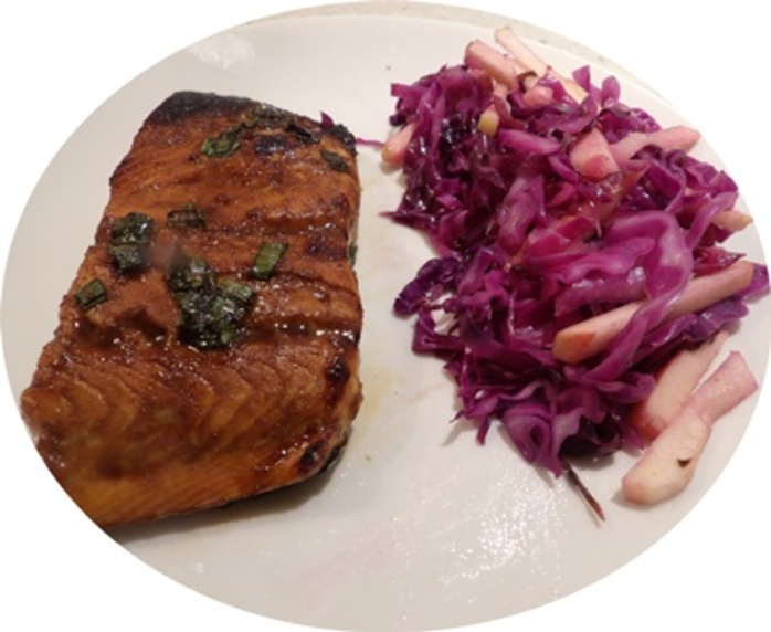 plated,honey,salmon,with,warm,red,cabbage,salad