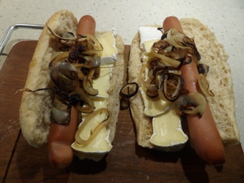 plated,hot,dog  - Caramelised Onion, and Brie Hot Dog