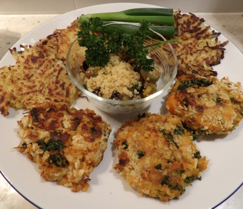 plated,red,salmon,patties,and,reibekuchen  - Curried Red Salmon Patties with Reibekuchen