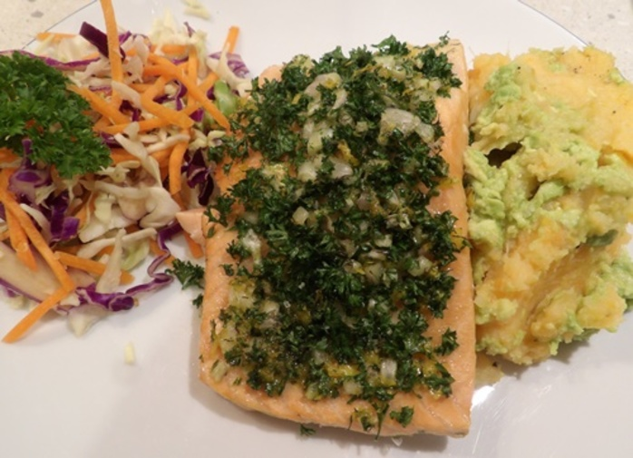 plated,salmon,mash,and,coleslaw