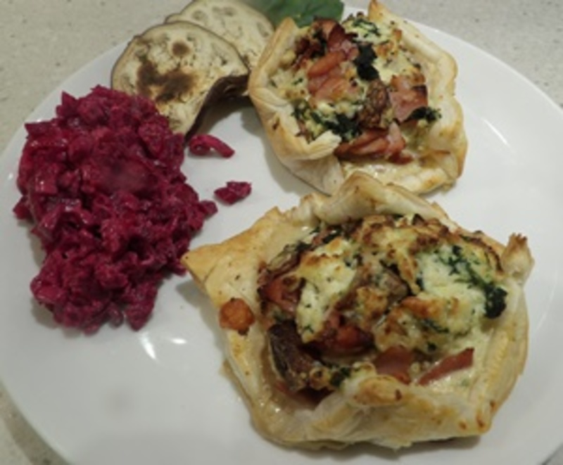 plated,savoury,open,pie,with,beetroot,salad