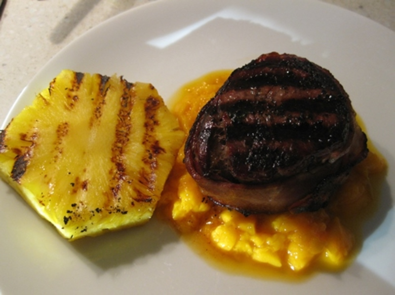 plated,steak,on,bed,of,mango,mash  - Fillet Steak Wrapped With Crispy Bacon, On A Bed Of Mango Mash