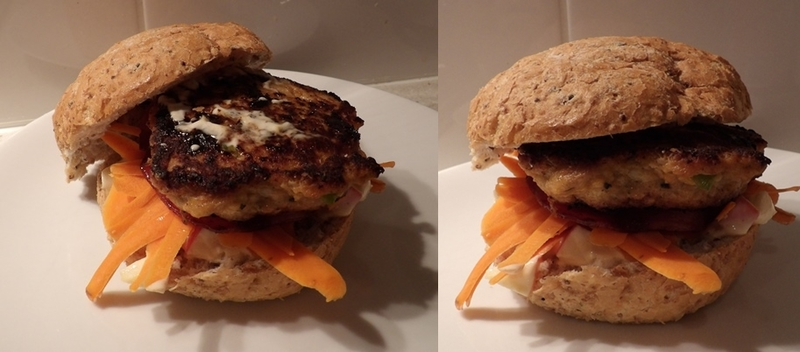 plated,thai,chicken,burger,with,apple,curry,mayonnaise  - Thai Chicken Burgers With Bacon And Curried Apple Mayonnnaise