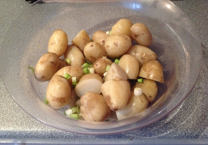 potatoes, mayonnaise, spring onions, potato salad
