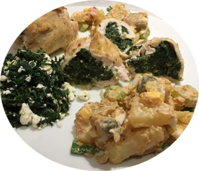 potato,salad,served,with,stuffed,chicken