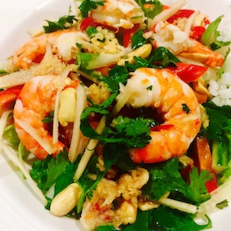 Prawn Salad With Ginger, Lemon And Chilli Sauce