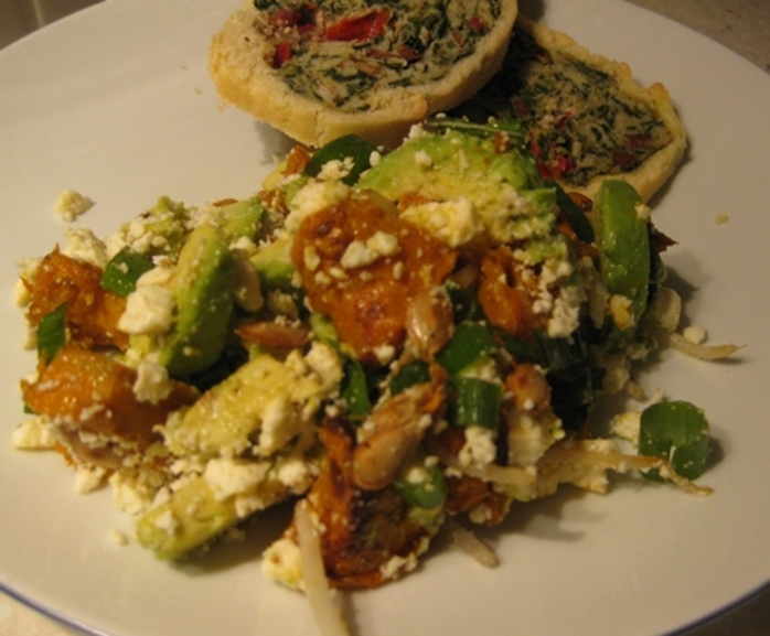pumpkin,avocado,feta,salad