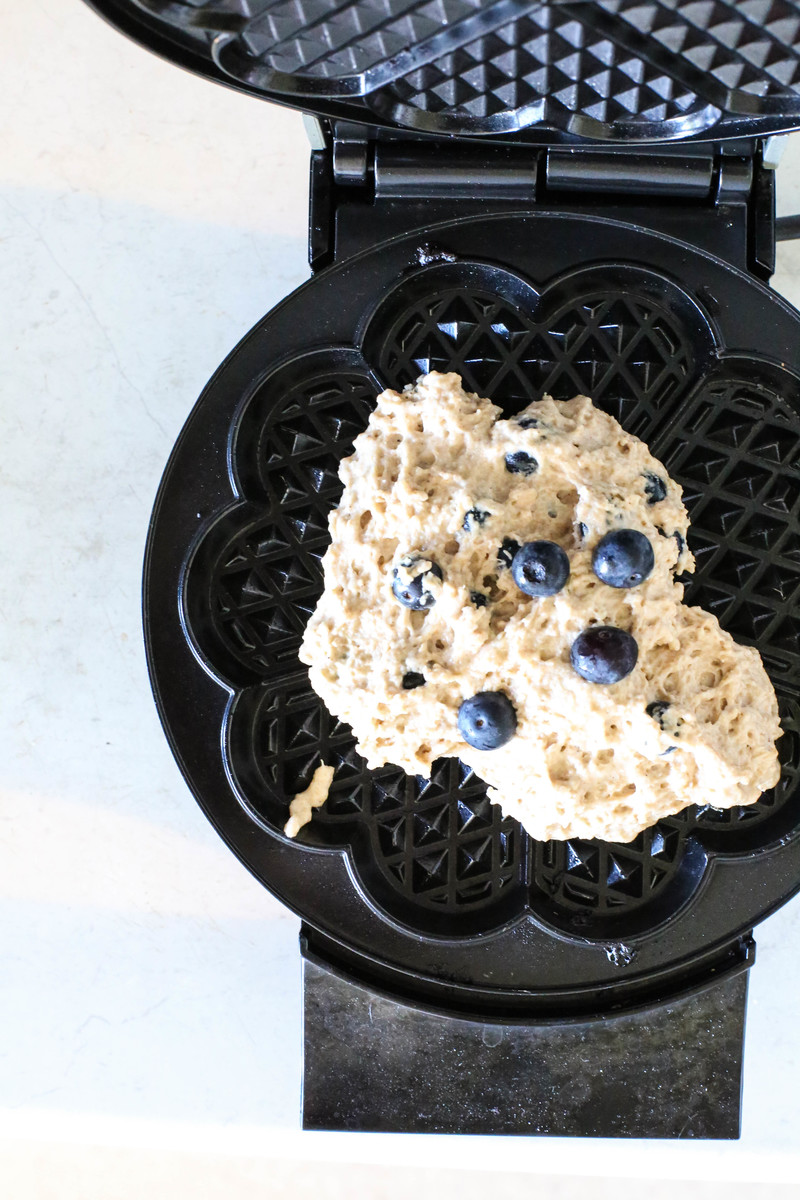 The batter is ready to waffle