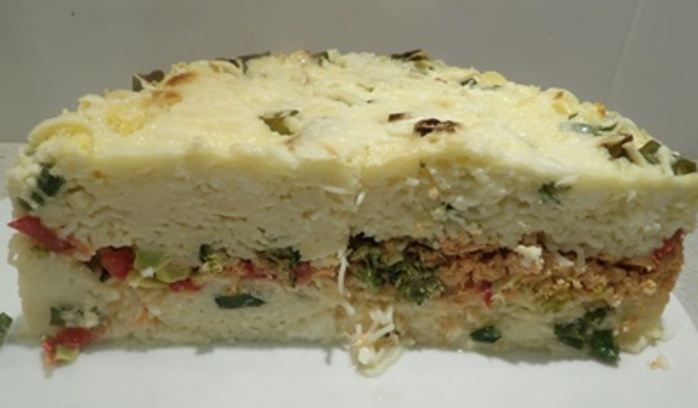 Red,salmon,layered, pie