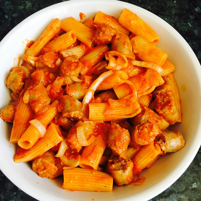 Rigatoni Pasta with Italian Sausage and Sautéed Onion