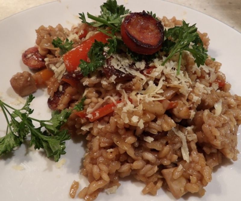 Oven baked risotto with chicken and chorizo recipe recipeyum for How do i make chicken risotto