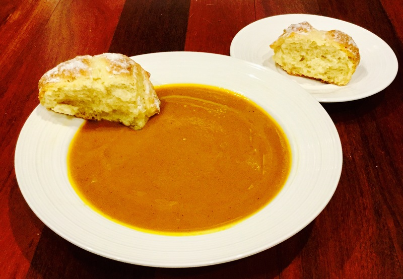 Roasted Pumpkin Soup With Cheese And Garlic Rolls