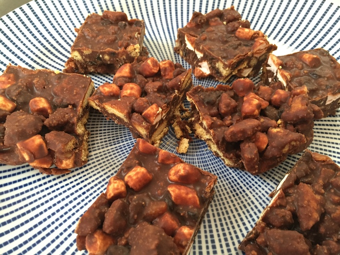 Rocky road, easy, kids, fridge cake, no cook, bake sale