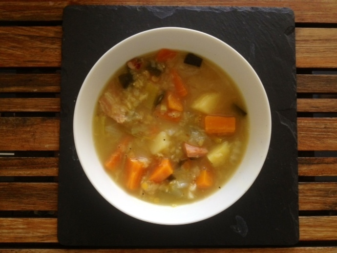 rustic farmer's winter broth soup vegetable bacon