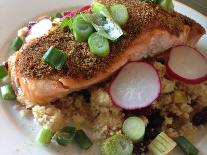 Salmon with couscous, salmon, fish, dinner