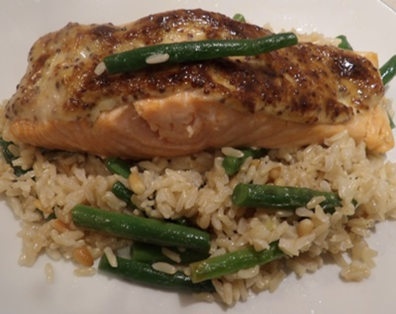 salmon,on,a,bed,of,brown,rice,and,bean,pilaf  - Dijon Salmon on a Green Bean Pilaf