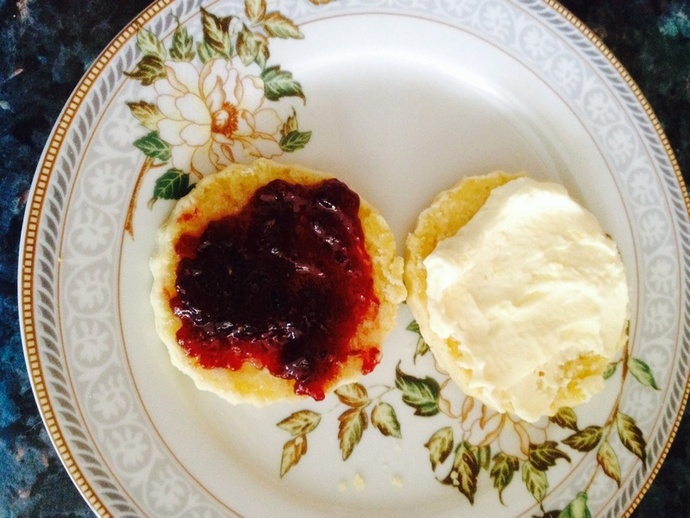 Scone with jam and cream