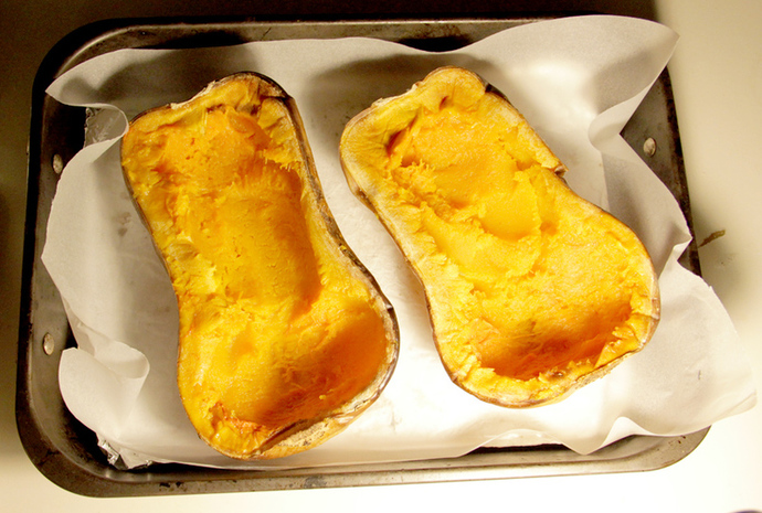 Scooped out butternut squash, vegetarian, gluten free stuffed butternut pumpkin