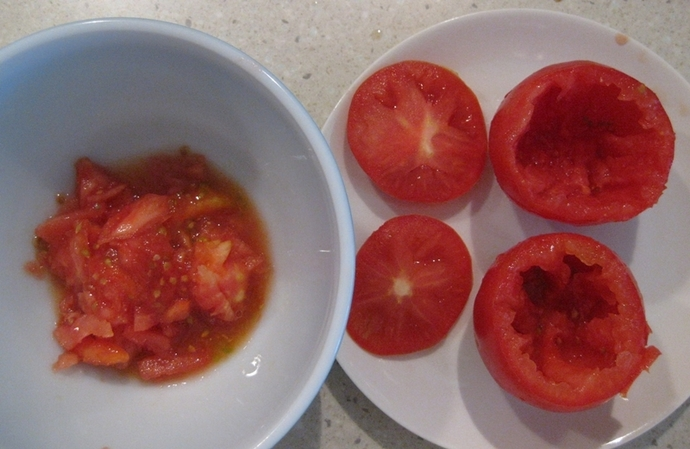 scraped tomatoes