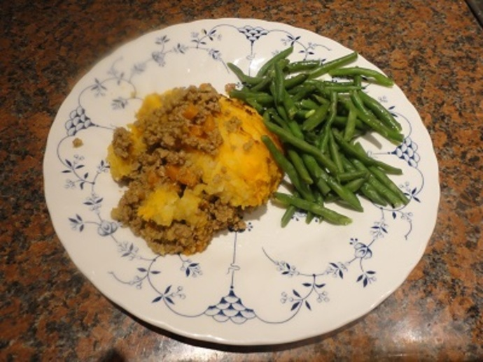 Serve the Shepherd's Pie with French beans