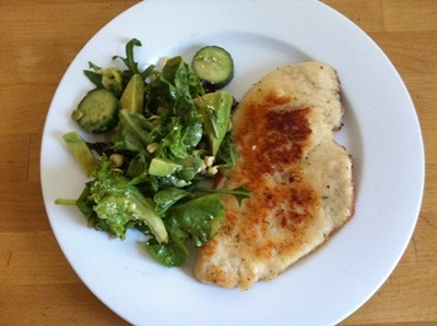 start with raw chicken schnitzel from the butcher or supermarket