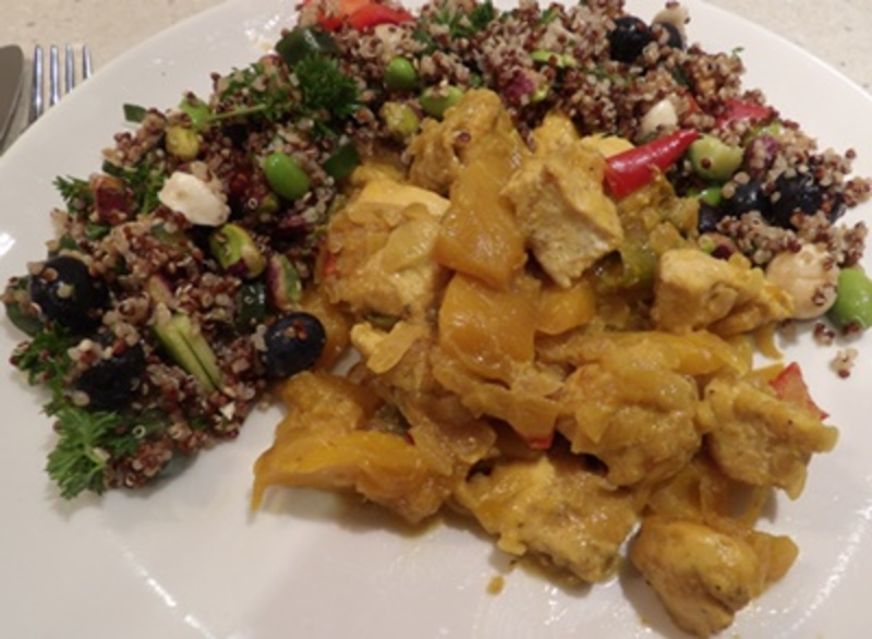 serving,salad,on,the,side,of,the,mango,chicken,curry