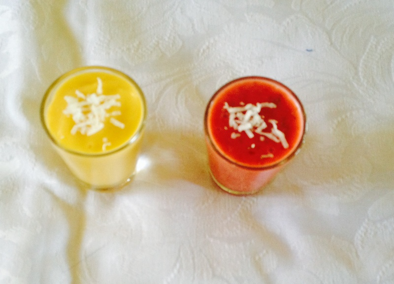 Shredded coconut on top  - Fruit Shooters