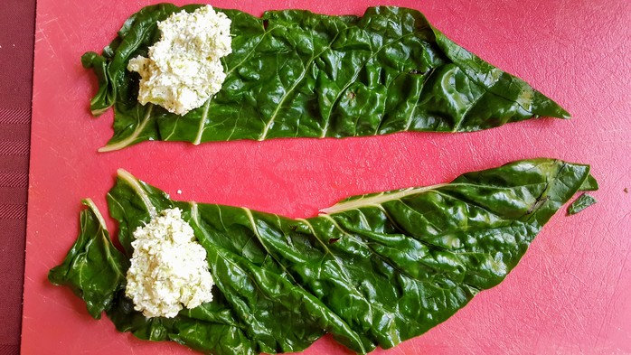 Silverbeet leaf with ricotta and broccoli filling