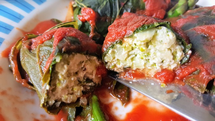 Silverbeet rolls with ricotta and broccoli filling
