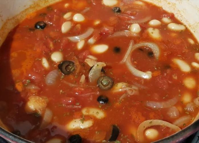 Simmer with tomatoes and beans