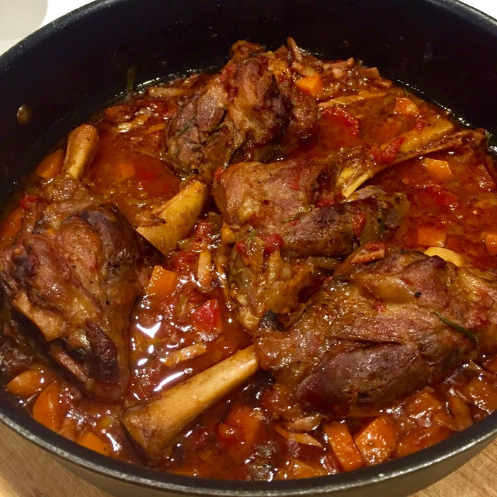 Slow Cooked Lamb Shanks With Bacon And Leek