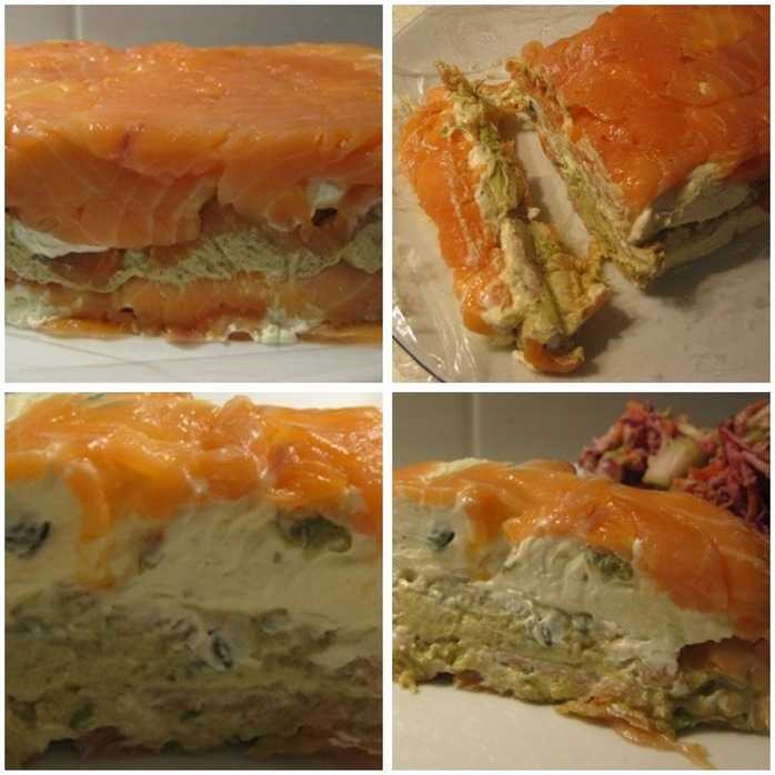 Smoked Salmon With Creamy Herb Layers Mixed With Avocado Montage