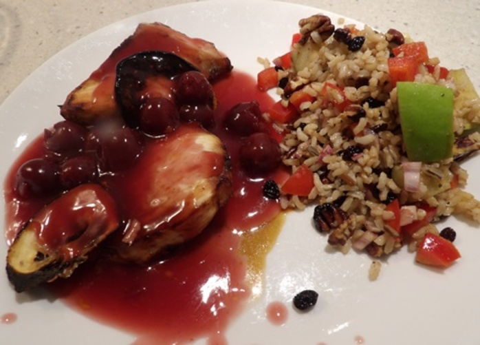 sour,cherry,chicken,with,apple,and,wild,rice,salad