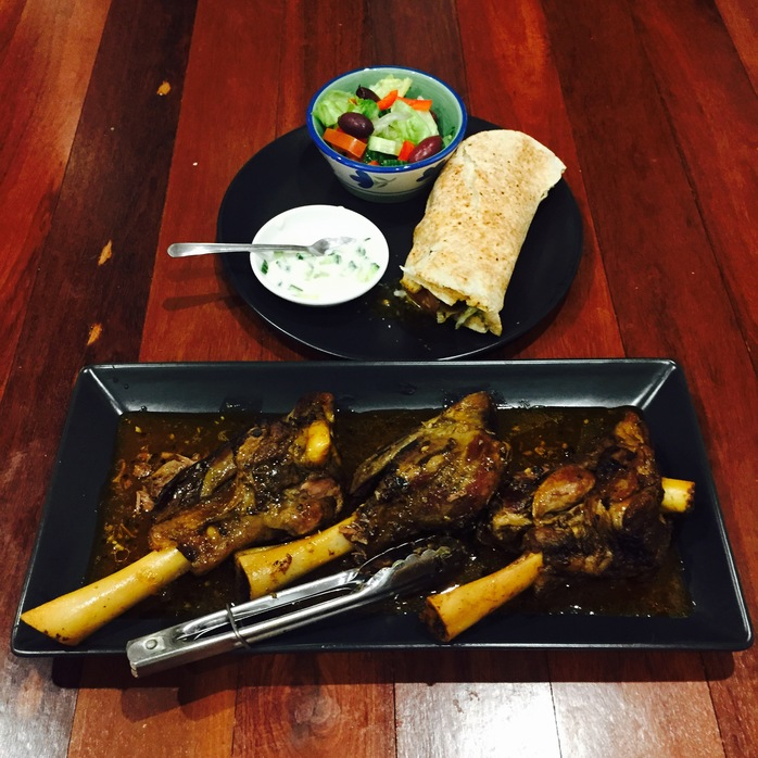 Souvlaki Lamb Shank With Tzatziki And Greek Salad