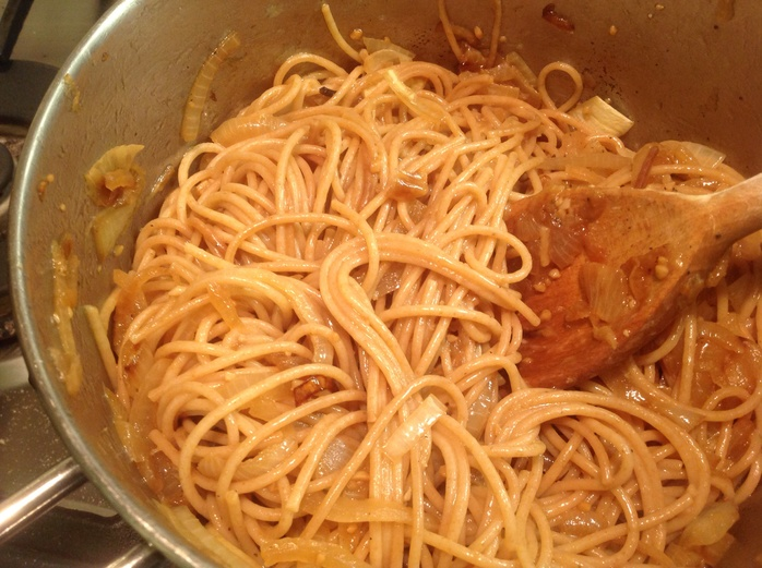 Onions, garlic, Marsala wine, frying pan