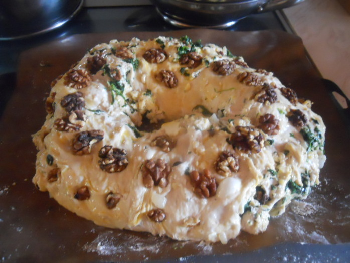 spinach, cheese, and walnut wreath, bread, dough