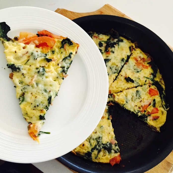 Spinach Tomato Bacon Cheese Frittata