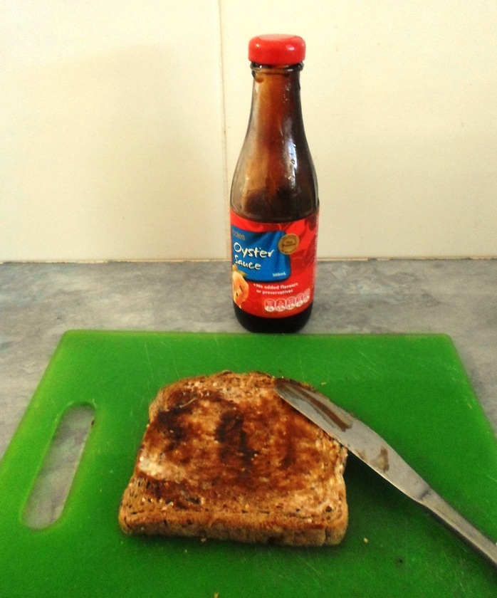Spread sauce on toast