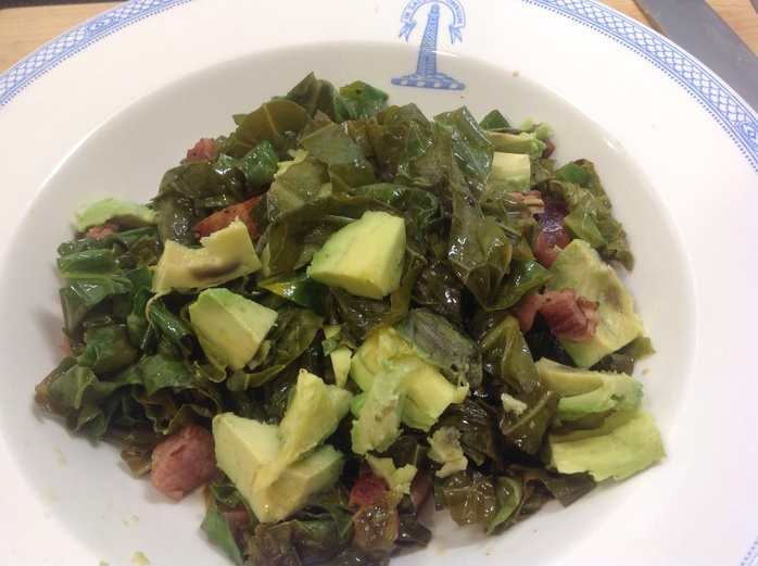 Spring greens, warm bacon and avocado salad