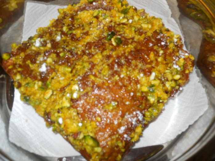 sticky pistachio cake, orange juice