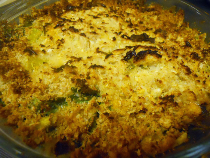 sticky rice & smoked mackerel gratin