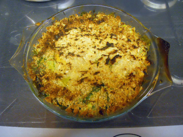 sticky rice & smoked mackerel gratin, breadcrumbs