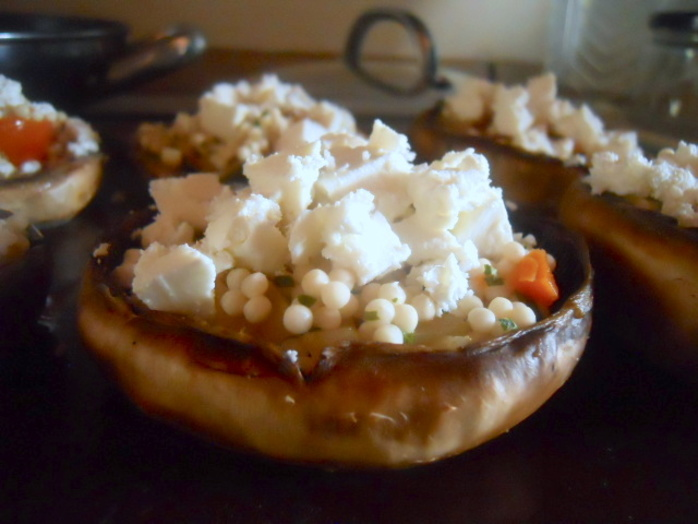 stuffed mushrooms, feta, coucous, tomato, onion