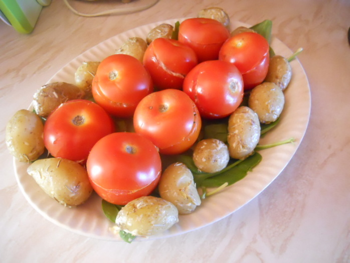 stuffed tomatoes, platter
