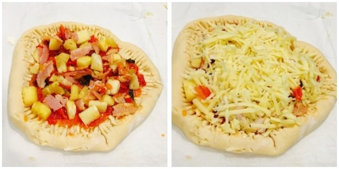 Stuffed Crust Ham And Pineapple Pizza Montage